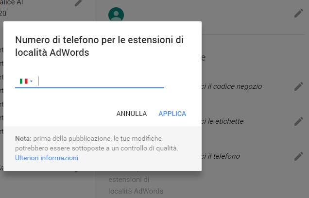 Google AdWords estensioni di Chiamata con Google MyBusiness