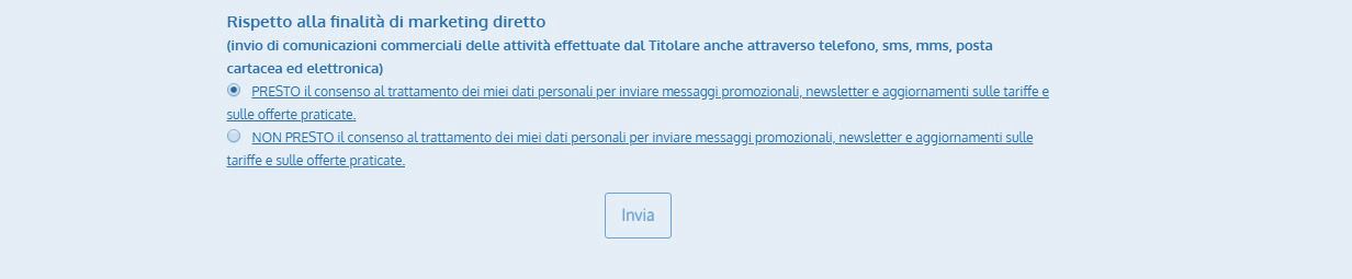 Esempio checkbox per consenso a finalità di marketing